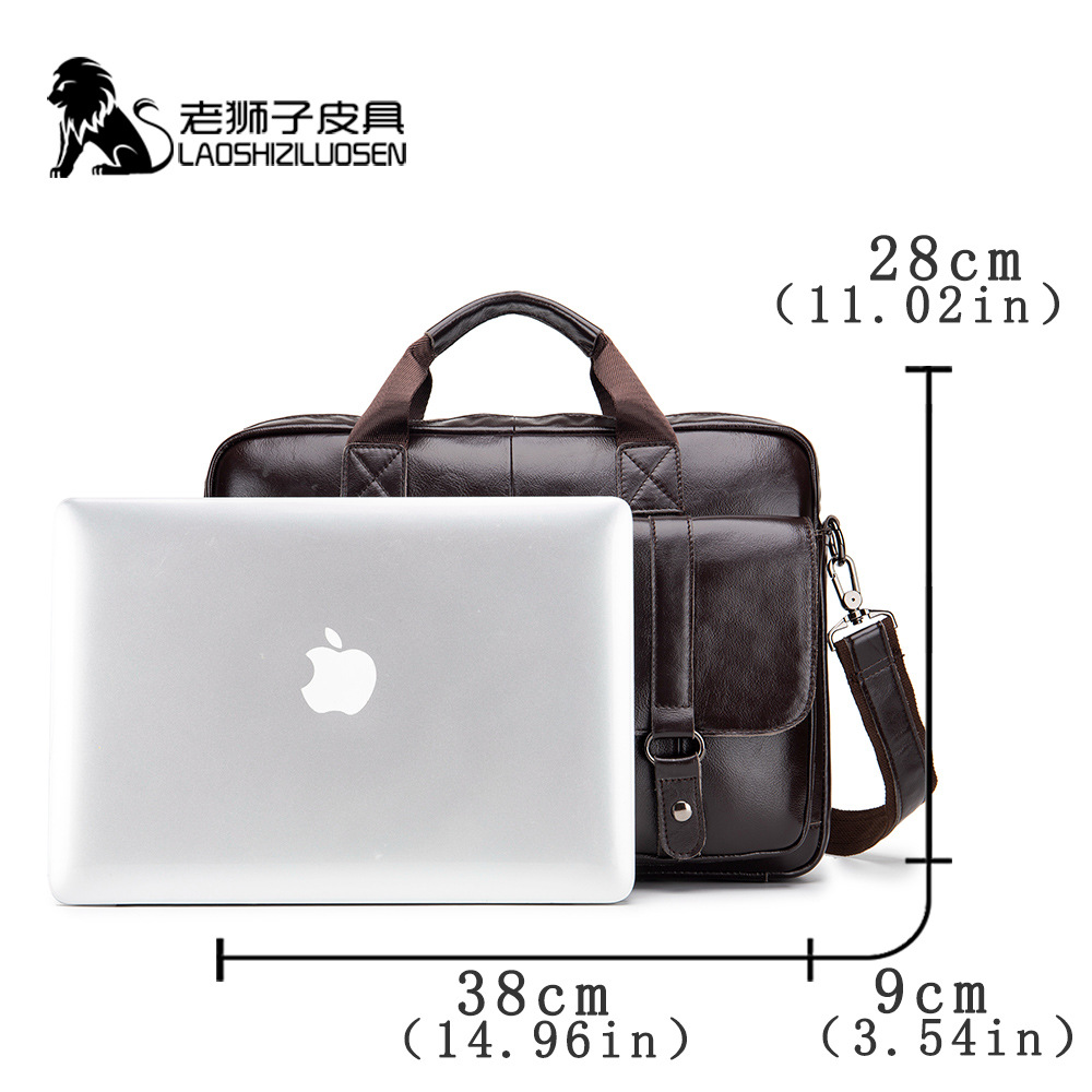 Leather Men's Briefcase Business Casual Handbag Full-grain Leather Shoulder Computer Bag