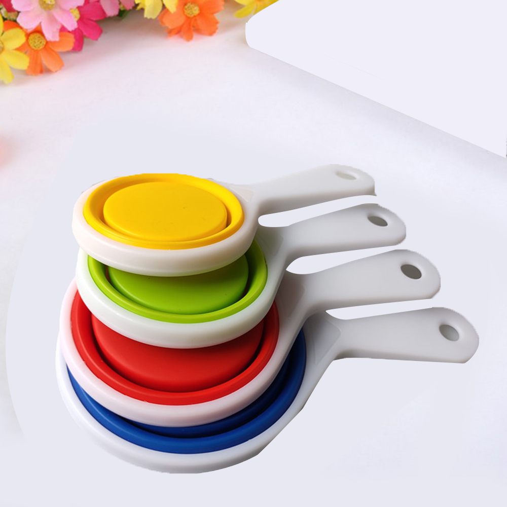 Kitchen Measuring Spoon Silicone Folding Measuring Cup Set Of 4 Weighing Spoon Measuring Bowl Cup Household Kitchen Tools