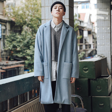 EWQ / spring 2020 Long Sleeve Open Stitch Turn -down Collar Pockets Loose Coat Man's Korea Style Tem