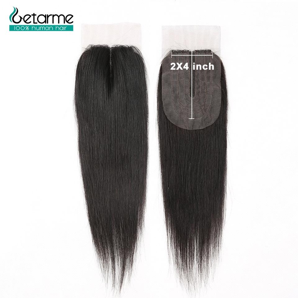Cierre de cabello humano para mujer cierre liso brasileño 2x4, cierre de encaje, cabello humano no Remy, cierre con división central, pelo de bebé