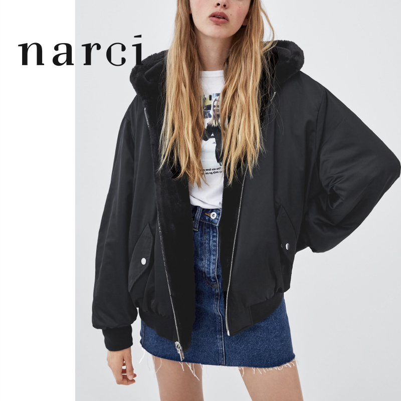 Narci Ladies Reversible Hooded Jacket Faux Fur Fleece For Winter Womens Tops Bomber Jackets Coats Black Outwear With Long Sleeve