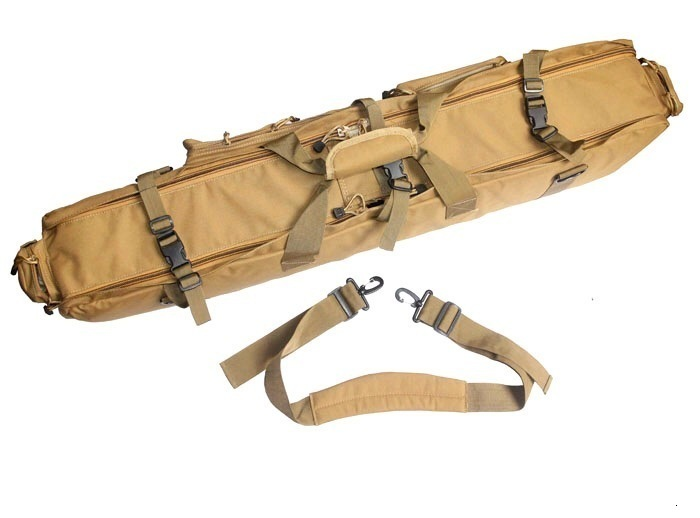 Brown Tactical Bag Double Package Capacity Side View showing handle and Strap