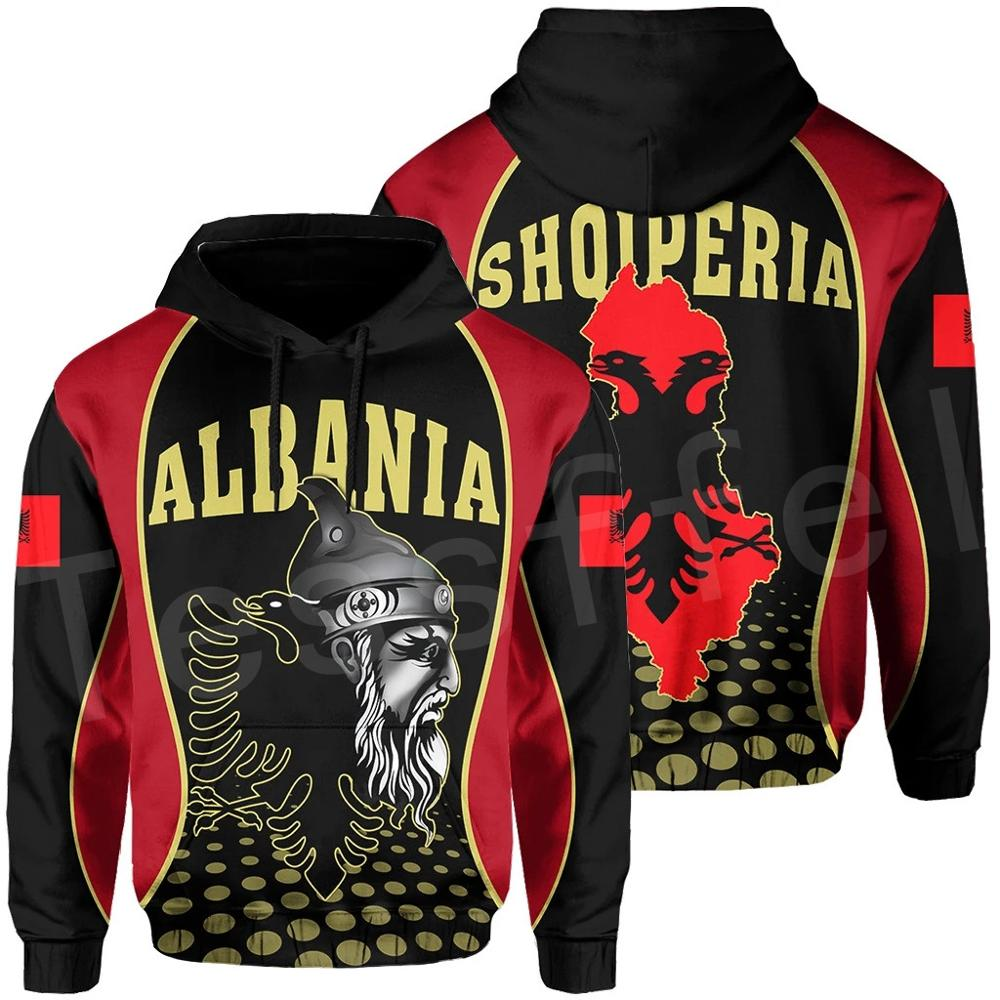 Tessffel Newest Albania Country Flag NewFashion Pullover Long Sleeves Funny Tracksuit Unisex 3DPrint Zipper/Hoodies/Jacket A-5