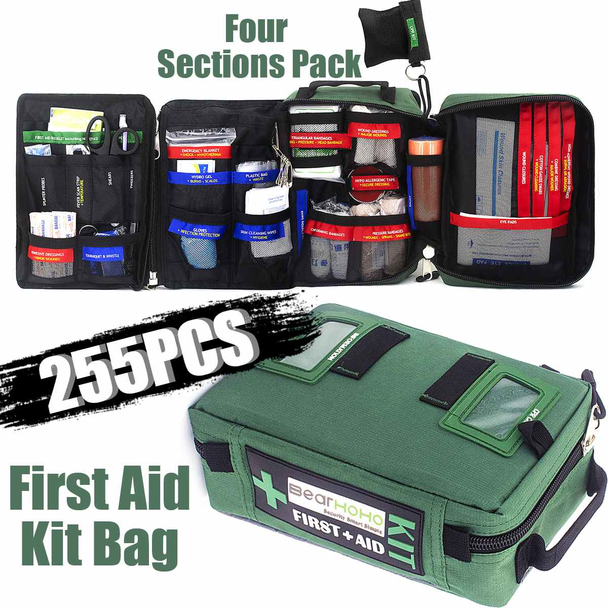 255Pcs Handy First Aid Kit Bag 165-Piece Lightweight Emergency Medical Rescue Outdoors Car Luggage School Hiking Survival Kits