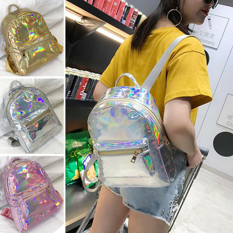 2020 CANIS Silver Gold Pink Laser Backpack Women Girls Shool Bag Leather Zipper Holographic Backpack Travel Bags