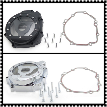 Aftermarket free shipping motorcycle parts Billet Engine Stator cover see through for Suzuki 03-05 GSXR600 750 1000 left CHROME image
