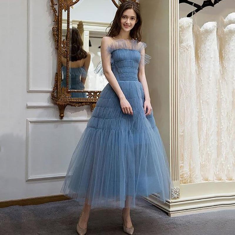 Eightree Evening Dress Princess A-line Sleeveless Prom Dresses Strapless Tulle Formal Party Gown Vestidos De Fiesta De Noche
