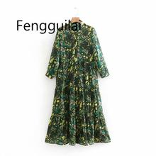 FENGGUILAI 2019 Women Vintage Turn Down Collar Floral Print Casual Long Dress Female Pleated Ruffles Chiffon Vestidos Chic