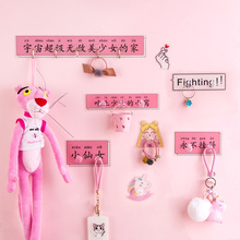 Pink color pp material cute heart shaped hook no punching paste wall room trace after door key for girls