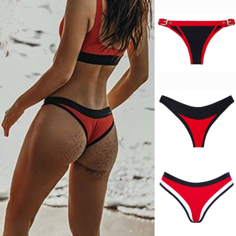 2020 New Women's Brazilian Thong Bikini Bottom Cheeky Triangle Briefs Swimwear Bathing Thong Brazilian G-String Beachwear