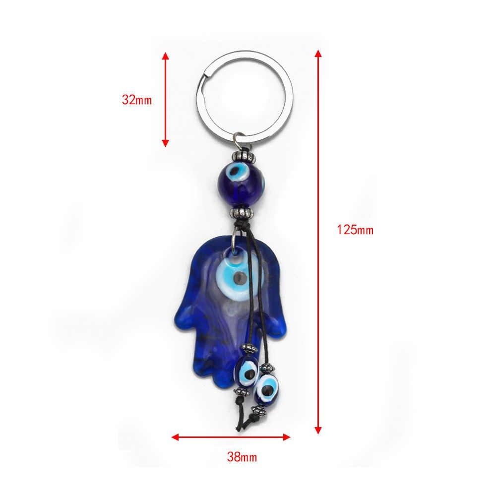 2017 พวงกุญแจแก้ว hasma โชคดีชั่วร้าย Charms พวงกุญแจป้องกันศาสนาเครื่องประดับของขวัญ 1 PC