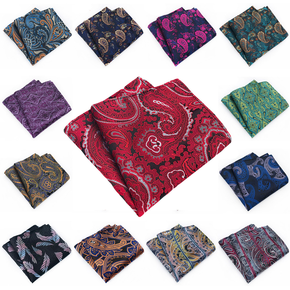 Mens Pocket Square High Grade Paisley Floral Print Wedding Party Handkerchief