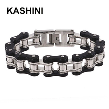 Punk Black steel Bicycle Bike Bracelets & Bangles Motorcycle Chain Mens Bracelet 16mm Largeu Men Stainless Steel Biker