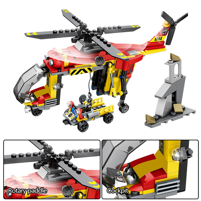 City Police Rescue Truck Off-road Car Building Blocks Military Helicopter Ship DIY Figures Bricks Toys for Children