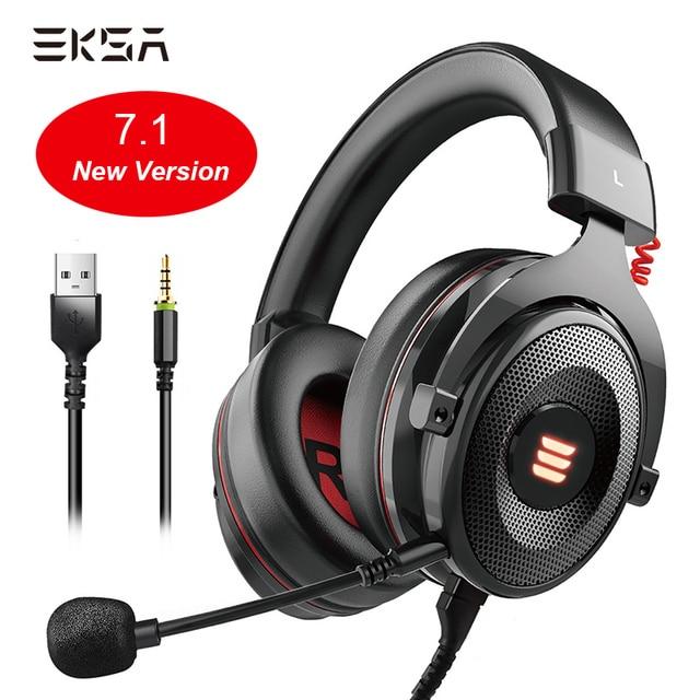 EKSA E900 Pro Виртуальная 7,1 Surround Sound Gaming Headset usb портами и светодиодным индикатором/3,5 мм проводные наушники с микрофоном и регулировкой громкости Управление для Xbox PC Gamer