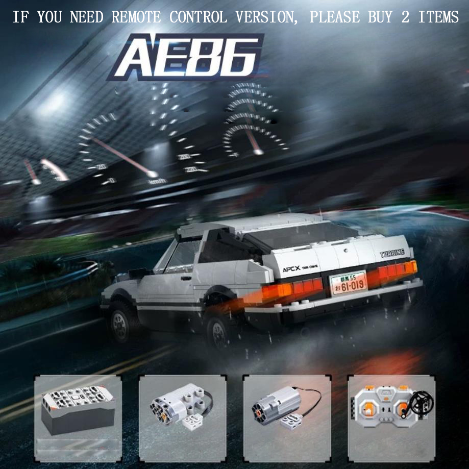technic Initial D 2.4Ghz radio Remote control building block 1:12 scale toyota AE86 Trueno 3door GT APEX model rc toy collection