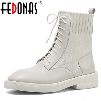 FEDONAS 2020 Popular Patchwork Genuine Leather Knitting Women Ankle Boots Female Cross Tied High Heels Work Party Shoes Woman