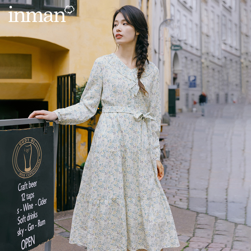 INMAN 2020 Spring New Arrival Literary Pure and Fresh Floral Lotus Leaf Collar Nipped Waist Slimmed Long Dress