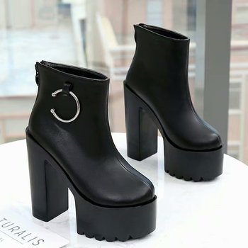 2019 new 14CM high heels European American fashion sexy high with waterproof platform short boots nightclub catwalk Martin boots