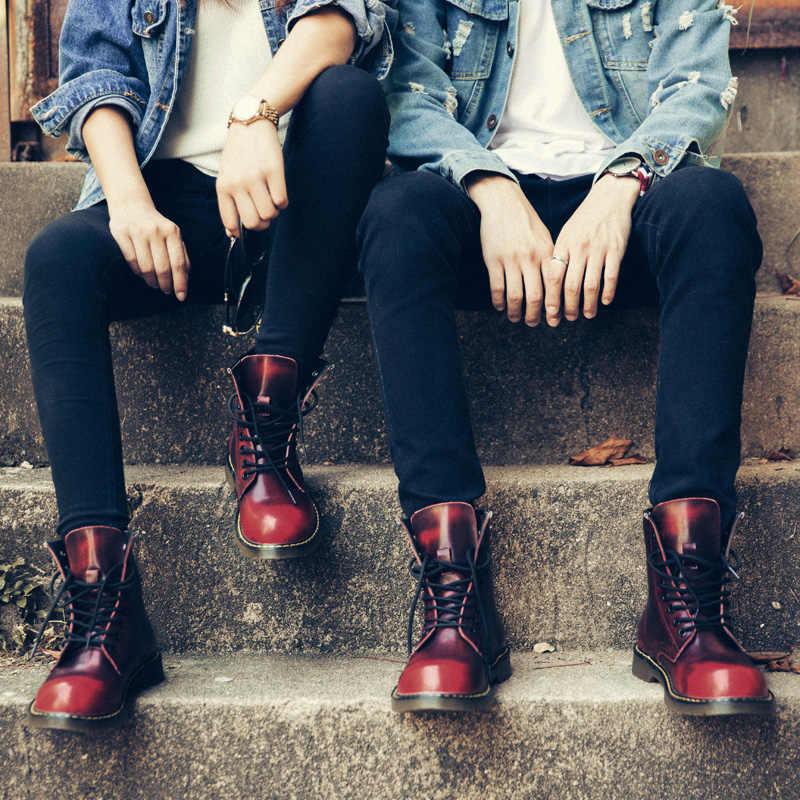 COOLVFATBO Unisex klasik erkek botları el yapımı erkek Chelsea çizmeler kaymaz sonbahar kış parti kadın yarım çizmeler büyük boy 35 -46