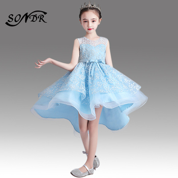 Flower Girls Dresses For Weddings HT038 Sky Blue O-neck Embroidery Pageant Dresses For Kids High Low Length Girls Ball Gowns black ball gowns for kids floor length party dresses for girls 2 12 years vestidos tulle mesh flower girls dresses for wedding