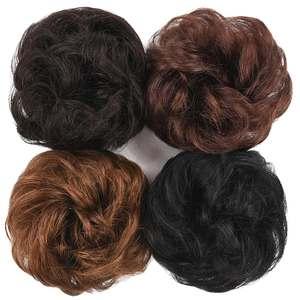 Ponytail-Extension Chignon Human-Hair Donut Bun Curly-Clip Elastic Ins Brazilian