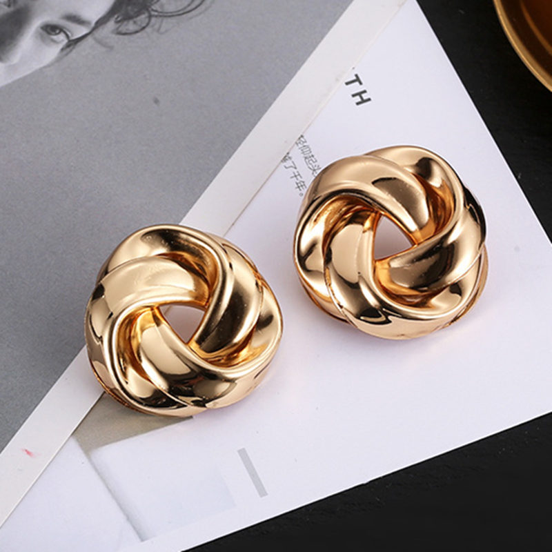 Big Vintage Metal Twisted Stud Earrings For Women Charm Gold Color Za Maxi Statement Spiral Whirlpool Earrings Jewelry