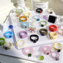 Punki 2021 New Colourful Transparent Resin Acrylic Rhinestone Geometric Square Round Rings for Women Jewelry Summer Travel Gifts