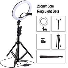 10 אינץ צילום LED Selfie טבעת אור מתכת Dimmable מצלמה טלפון טבעת מנורת עם Stand חצובות עבור איפור וידאו חי סטודיו