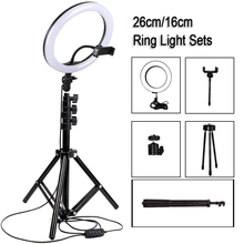 10 inch Photography LED Selfie Ring Light Metal Dimmable Camera Phone Ring Lamp With Stand Tripods For Makeup Video Live Studio