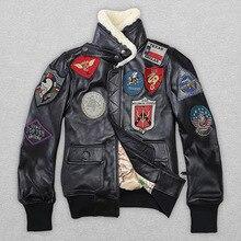 2020 Lovers TOP GUN Genuine Jacket Wool Collar Real Thin Sheepskin Leather Pilot