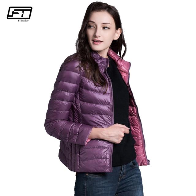 Fitaylor New Winter Women Down Jacket Ultra Light 90% White Duck Down Double Side Coats Short Design Slim Warm Parkas 3
