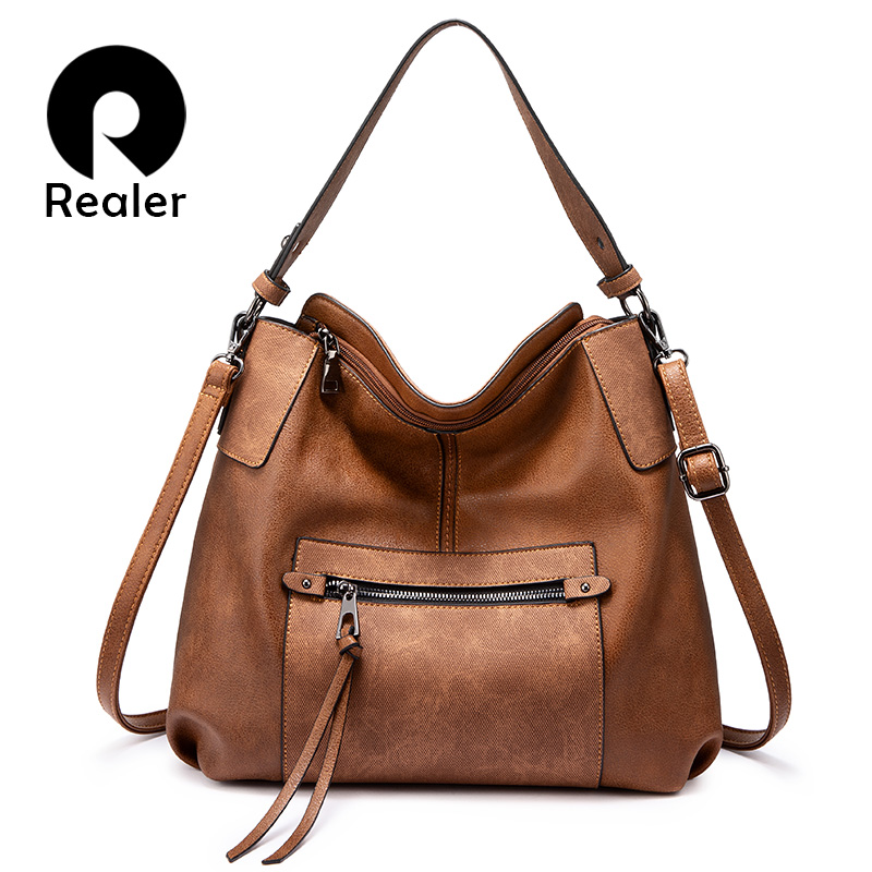 REALER Women Shoulder Bag Crossbody Messenger Bags For Women 2019 Large Hobos Totes Bag  Luxury Handbag PU Leather Gray Hand Bag