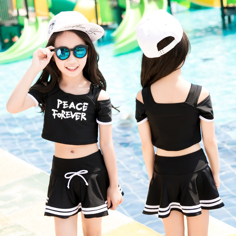 Equipment KID'S Swimwear Girl'S Swimming Pool One-Piece Little Girl Students GIRL'S Suit Big Boy Full Set Small Treasure