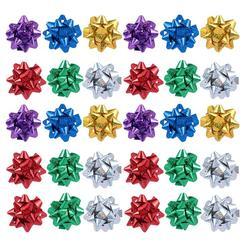 100Pcs Reflecterende Gift Pull Bows Zelfklevende Gift Wrap Boog Laser Reflecterende Ster Bloem 3-Inch Festival Levert (Willekeurige Kleur)