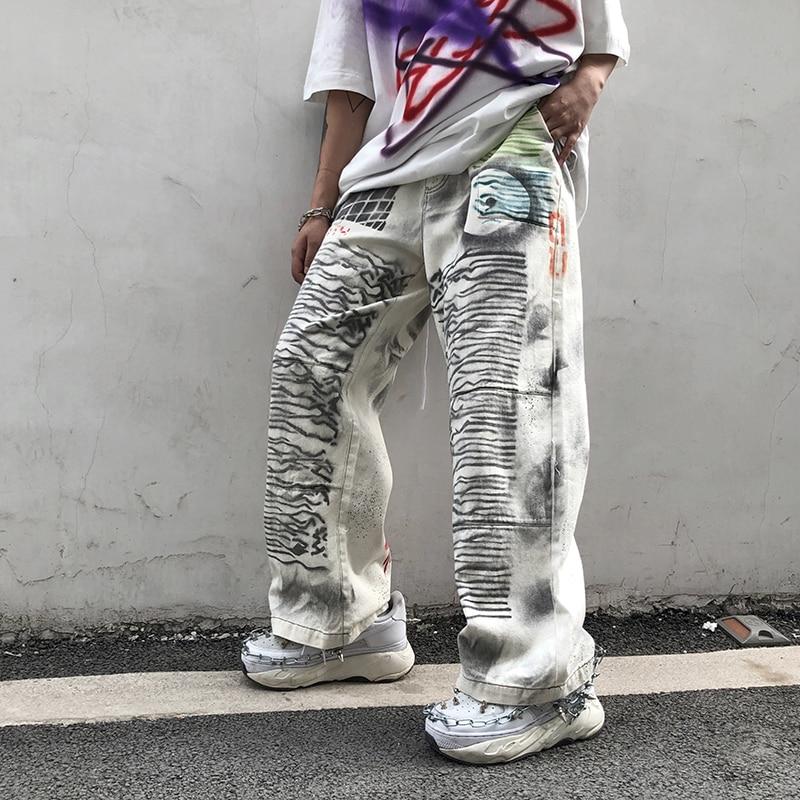 Smoke Graffiti Print Jeans Mens Streetwear Hiphop Old Dirty Calico Pants White Baggy Jeans Men Denim Trousers Fashion Jeans