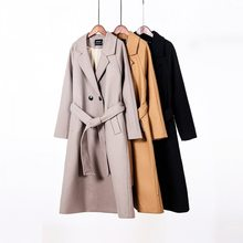 Long Coat Jacket Outwear Toppies Double-Breasted Women Ladies 50%Wool Fall