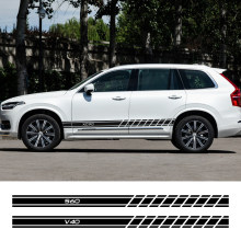 2PCS Car Vinyl Door Side Skirt Stripes Stickers For Volvo S60 XC90 V40 V50 V60 S90 V90 XC60 XC40 AWD T6 Auto Decor Accessories(China)