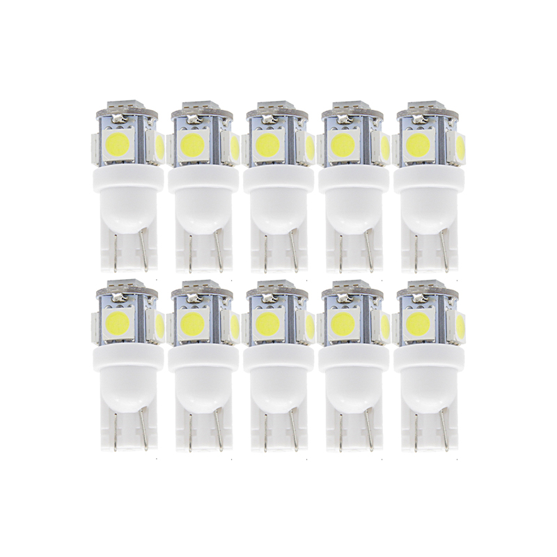 10x T10 W5W LED Signal Bulb Car Interior Dome Reading Light 12V Auto Trunk Door Side License Plate Luggage Lamp 5050 5SMD White