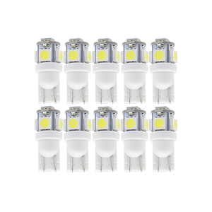 10x T10 W5W LED Signal Bulb Car Interior Dome Reading Light 12V Auto Trunk Door Side License Plate Luggage Lamp 5050 5SMD White(China)