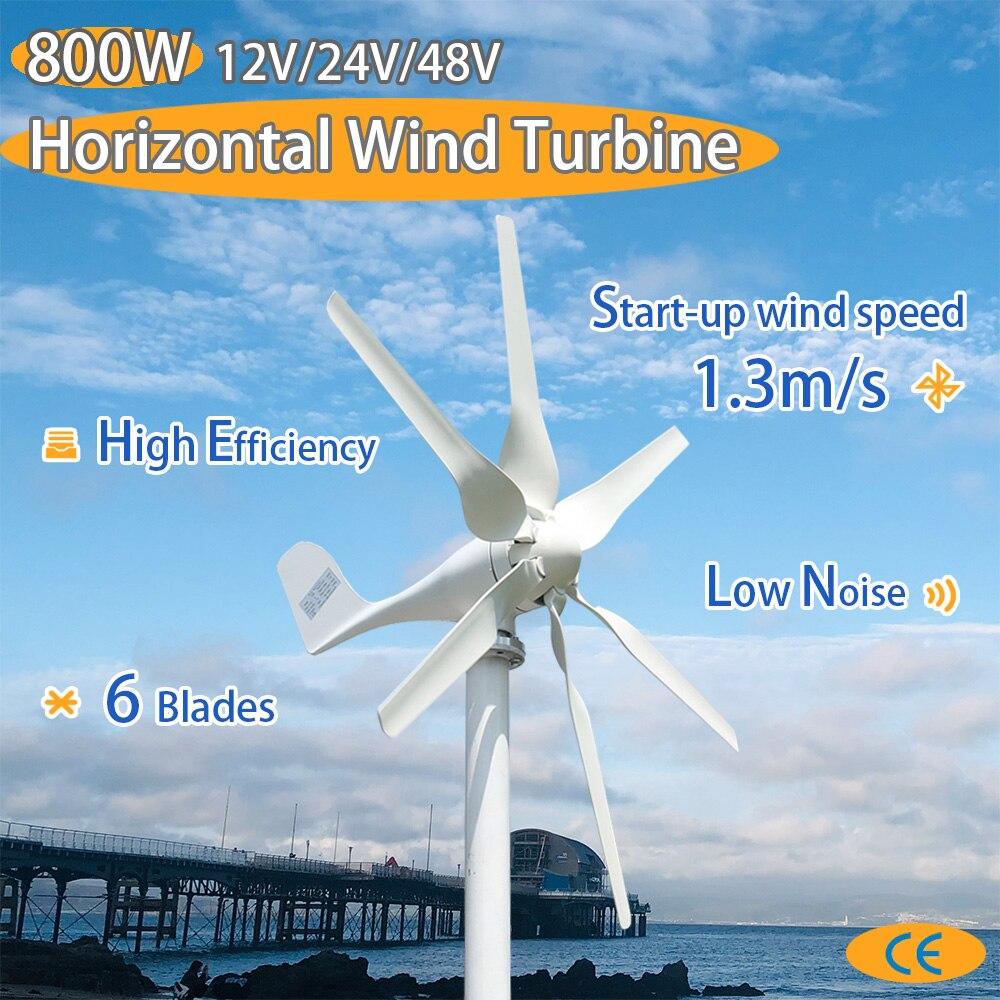 Запуск 1,3 м/с Новый 800w 12v 24v ветряной турбины с 6 лезвия и ШИМ Контроллер заряда для домашнего использования|Генераторы альтернативной энергии|   | АлиЭкспресс