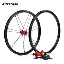 """Roues en alliage Silverock 16 """"1 3/8"""" 349 frein de jante NBR 14H 21H pour Brompton 3 soixante vélo pliant personnalisé roues de vélo Multi couleur"""