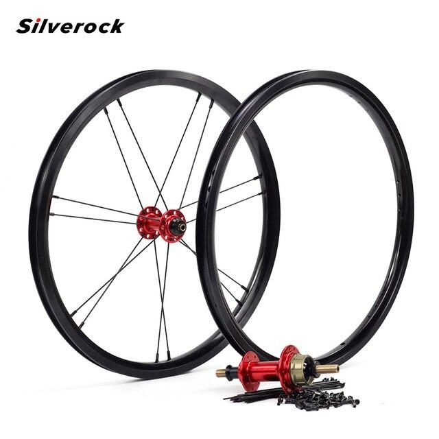 """Silverock โลหะผสมล้อ 16 """"1 3/8"""" 349 เบรคขอบ NBR 14H 21H สำหรับ Brompton 3 Sixty จักรยานพับ CUSTOM จักรยานล้อหลายสี"""