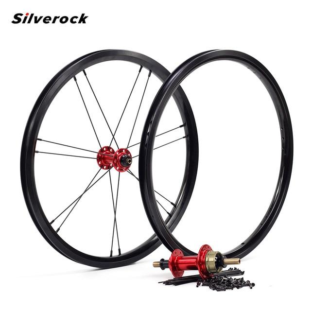 "Silverock Alloy Wheels 16"" 1 3/8"" 349 Rim Brake NBR 14H 21H For Brompton 3sixty Folding Bike Custom Bicycle Wheelset Multi Color"