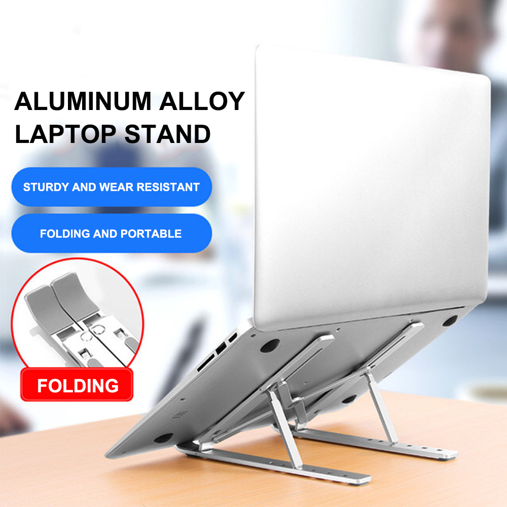 Folding Laptop Holder Stand PC Support Aluminum Cooling Adjustable Desk Holder Portable Folding Laptop Stand In Bed Home Office