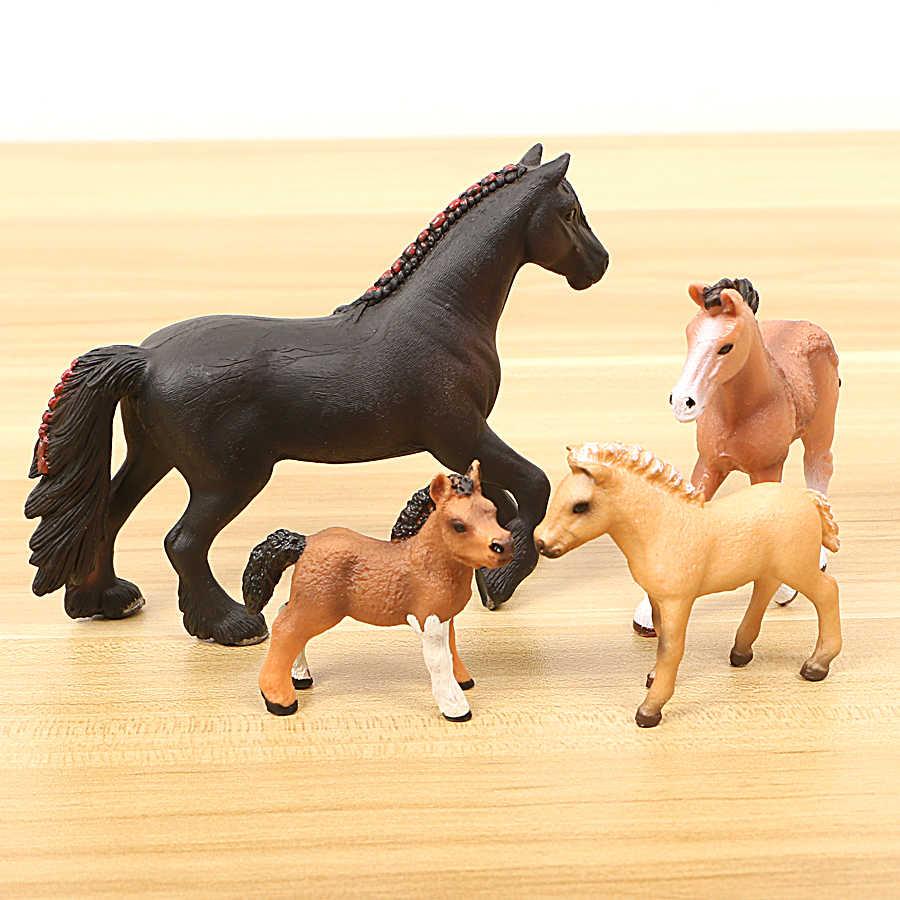 Figurinhas Cavalo realista Animais de fazenda Modelo Figuras de Ação, figura Modelo coleção Cavalo fazenda estável Variedade de Coco Do Bolo de Presente