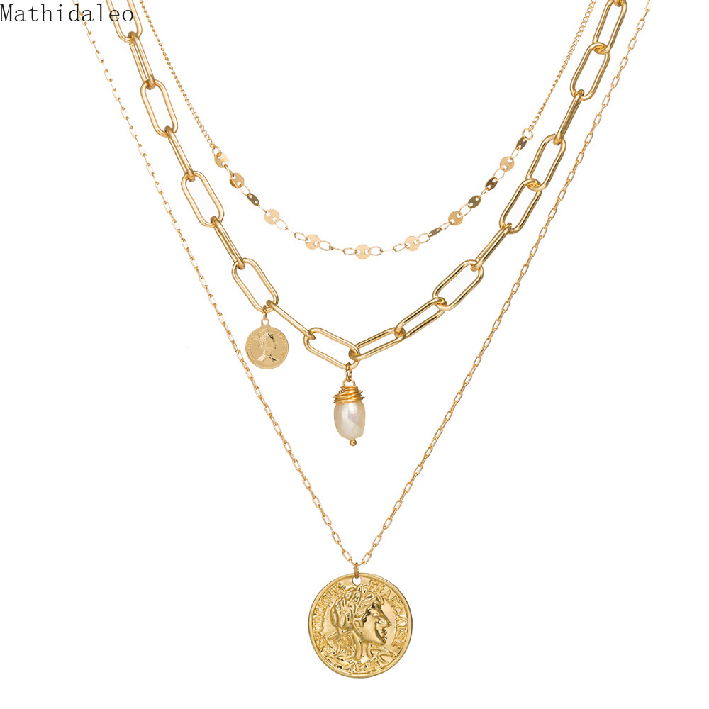 Freashwater Pearls Layers Necklace Natural Stones Statement Necklace Gold Color Layered Women Necklace Fashion JewelryNZ383(China)