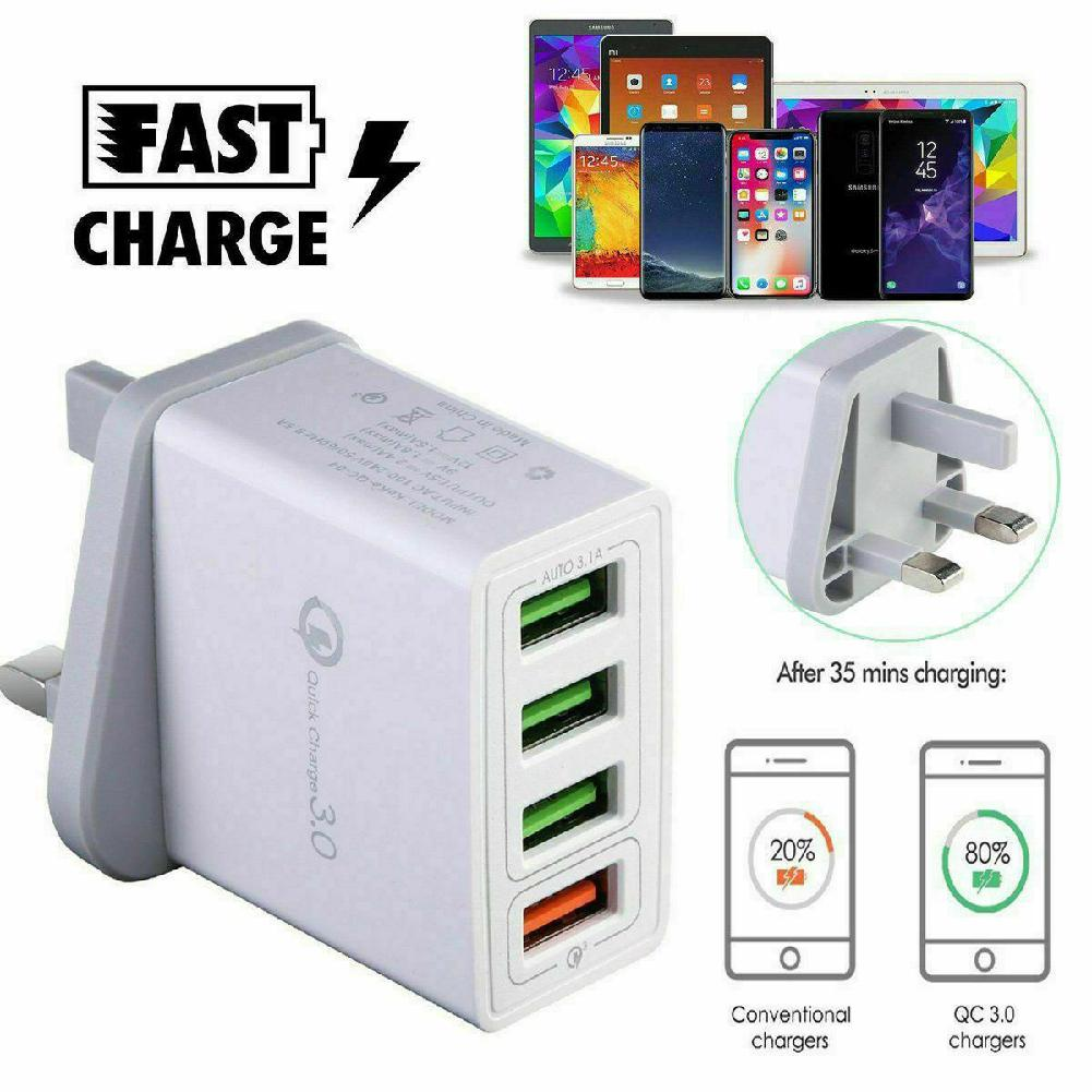4 Multi-Port Quick <font><b>Charger</b></font> QC 3.0 <font><b>USB</b></font> Hub Wall <font><b>Charger</b></font> for Samsung IPhone Huawei Fast Charging Adapter UK Plug for Travel Office image