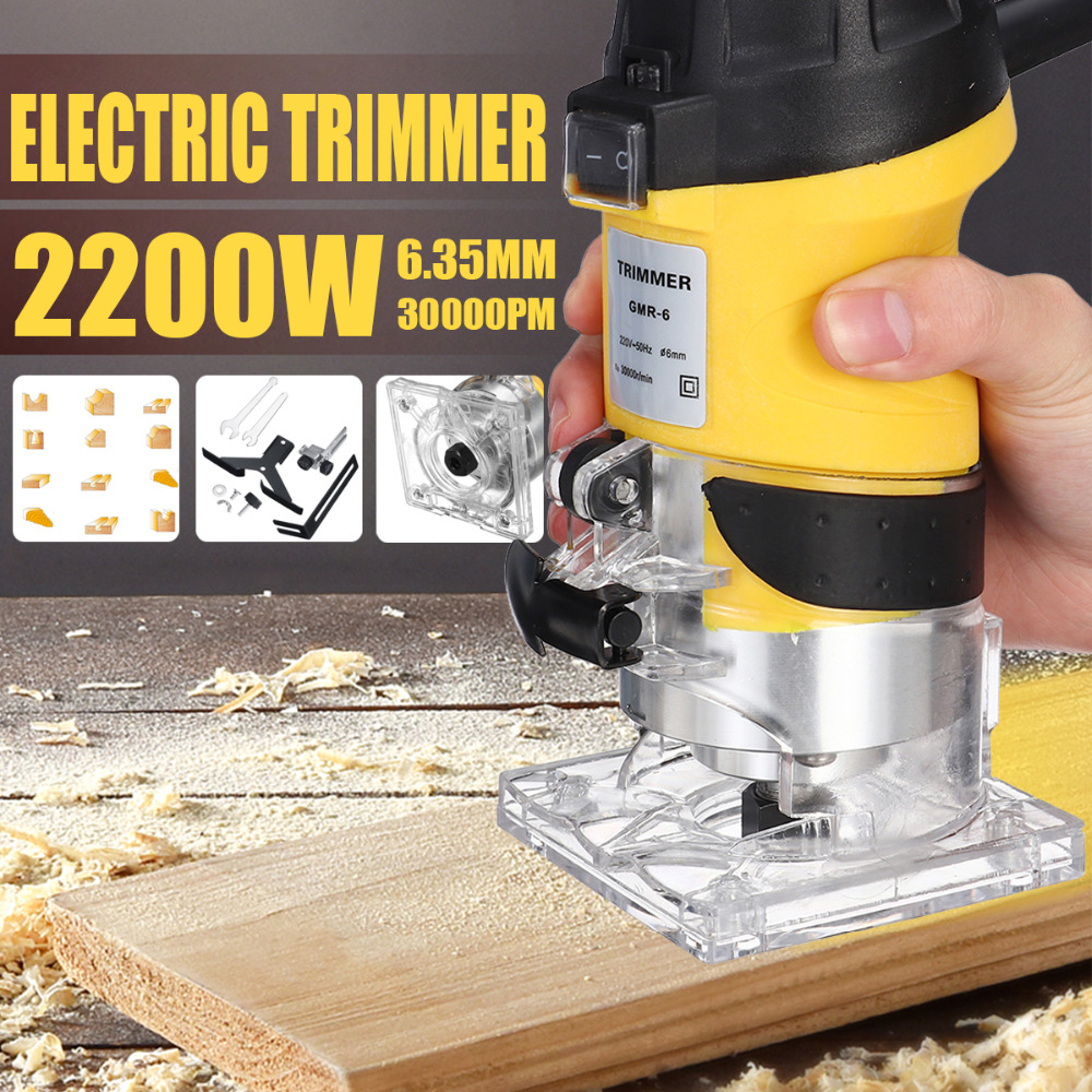 2200W Electric Hand Trimmer Wood Router 6.35mm Woodworking Laminator Carpentry Trimming Cutting Carving Machine Power Tool Set-in Electric Trimmers from Tools    1