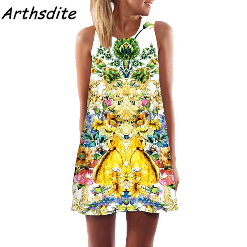Arthsdite 2017 Bohemian Floral Print Dress Vintage Sexy Summer Beach Boho Sleeveless Mini Plus Size Women Clothing